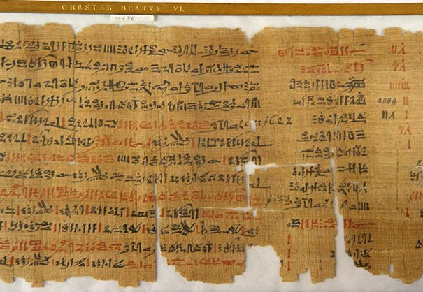 The original Papyrus scroll from the collection of Chester Beatty VI, mentioning cannabis as a medicine for colon cancer, among others. Coffeeshop Guru