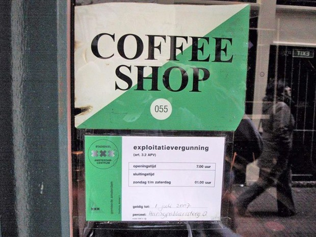 An official coffeeshop licence sticker on door Coffeeshop Guru shop guide